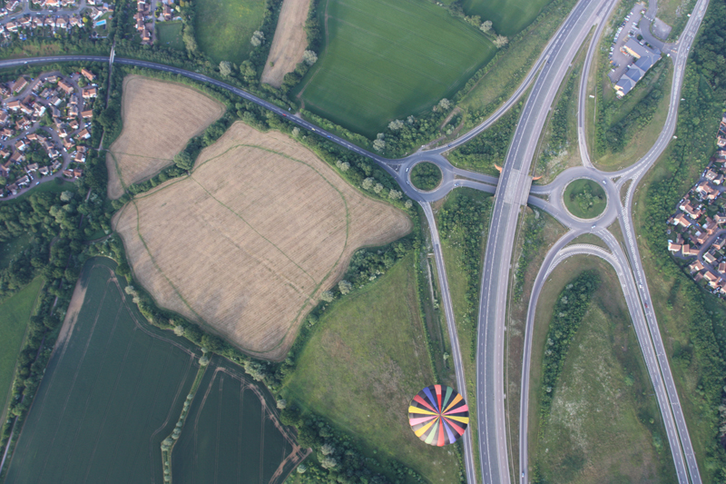 Even from above you can see the distinctive colour of our hot air balloon as it drifts past Braintree near to the A12 interchange with Pod's Brook Road near Notley Green.
