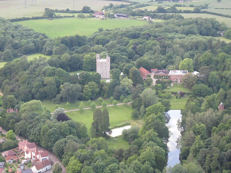 You get views of things that are often invisible to road users when you go on a balloon flight over Essex. Whilst the top of the Norman keep of Hedingham Castle is visible from some distance, the main Georgian house is normally hidden from view. And of course aerial views give a much better perspective of the setting of these fine historic buildings