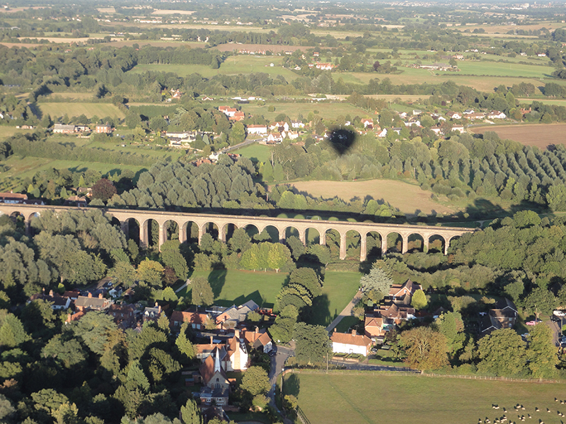 The Chapple Viaduct stands an impressive 80 feet above the Colne Valley and is the second largest brick built structure in the country. A listed building, it spans over 1000 feet in length and is easily seen from a distance on our hot air balloon rides over Essex. It's considerable history can be enjoyed at