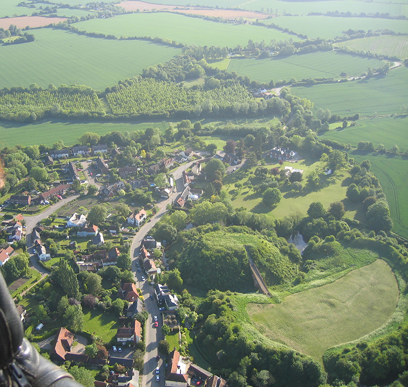 The remains of the 11th Century Norman castle at Pleshey are a great view on a balloon ride from Newland Hall or other of our Essex Balloon ride take off sites near Chelmsford.