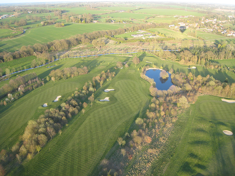 You can see that the small Essex village of Stisted in the background of this aerial picture is only a fraction of the size of the golf course when viewed from a balloon basket. Although not always at this location Braintree Golf Club has been in existence since 1891 and is the third oldest course in the county of Essex. It moved from its nine hole course at Braintree to the current location in 1971 when the Braintree by pass was built. Golfers often wave to low flying balloons, particularly on morning flights when we are both up soon after dawn!