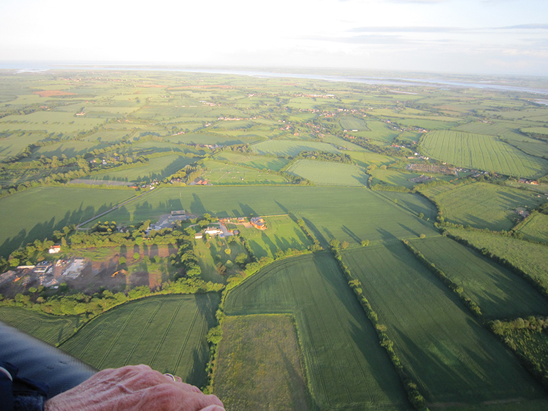 The River Blackwater and its estuary are clearly visible on this aerial view of Essex from a balloon take off from Prested Hall near Colchester. You can see here why our passengers often comment that Essex looks far greener than you would imagine driving along the roads between Chelmsford and Kelvedon