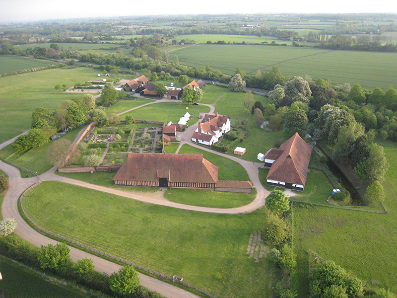 The two barns at Cressing Temple mark the site of the first Knights Templar lands recorded in England and are probably the finest remaining barns in Europe from this period. The walled gardens are clearly visible in both these pictures taken by Essex Balloons