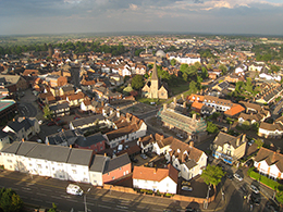 Aerial picture of the centre of Braintree