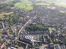 Aerial view of Halstead from a balloon over Essex