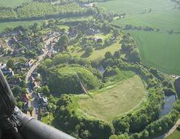 Aerial picture of Pleshey Castle taken from a balloon basket
