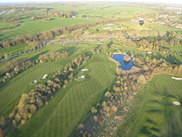 Aerial picture of the Braintree Golf Club at Stisted.on an Essex  balloon ride