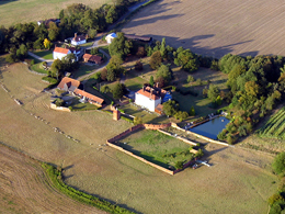Aerial view on an Essex Balloon flight near Gosfield Village.